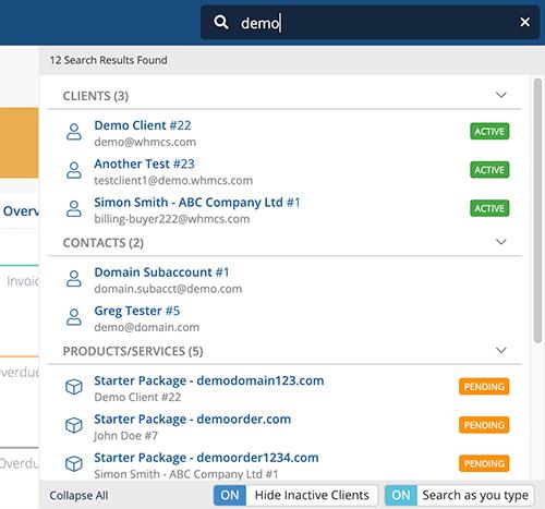 WHMCS 8.0 Intelligent Search